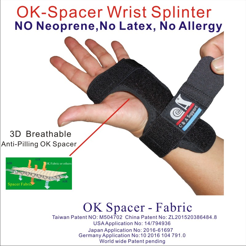3D breathable spacer fabric night wrist splint