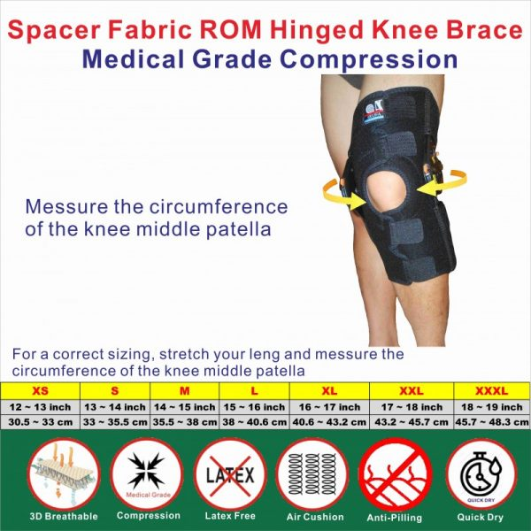 Spacer Fabric ROM Hinged knee Stabilizer