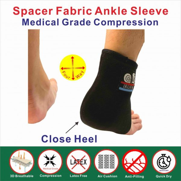 Breathable ankle sleeve- close heel
